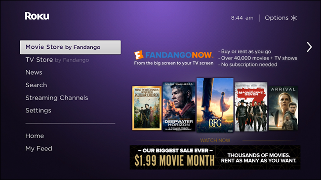 How to Remove the Fandango Movie and TV Stores From the Roku Home Screen